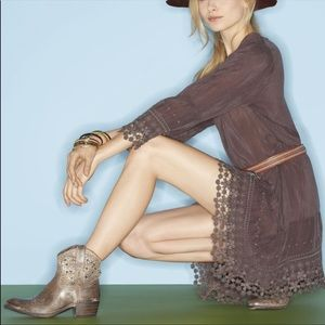 New Frye Deborah Distressed Studded Western Boots